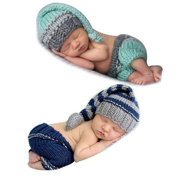 Newborn Boys Girls Baby Crochet Knit Costume Photography Photo Props Hat Outfit 0-12 Months = 1958129284