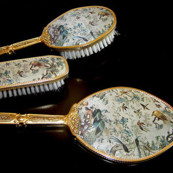 Antique vanity set dressing table set royal hair brush hand mirror clothes brush grooming bird birds golden handles