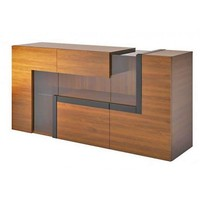 Catania Large Modern Sideboard In Walnut With Display