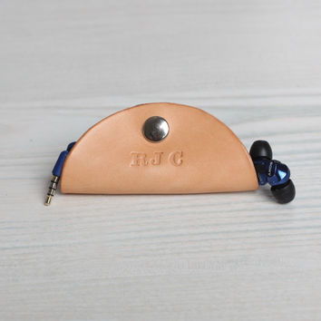 Personalized Taco Leather Earbud Cord Holder - Natural