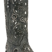 Corral® Ladies Distressed Black Crater w/White Inlay & Studs Snip Toe Western Boots