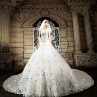 Cathedral Royal Train A-Line Sleeveless Sweetheart Beaded White Wedding Dress