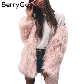 BerryGo Fluffy long faux fur coat womens Winter fake fur streetwear pink coat female Fashion colored fur coats outerwear 2017