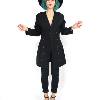 80s Black Fitted Blazer Vintage Topshop Mini Dress Jacket Black Blazer Button Up Long Sleeve Military Jacket (S)