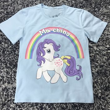 Moschino Women Fashion Unicorn Shirt Top Tee