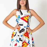 Printed Rayon Sun Dress | Mid-Length | Women's Dresses | American Apparel