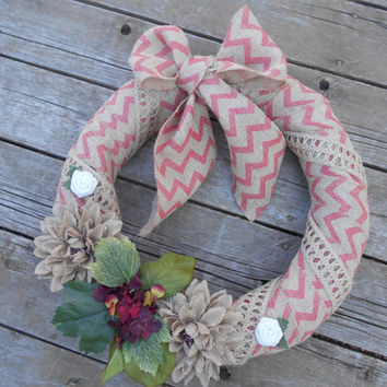 Chevron Burlap wreath-spring wreath-Hydrangea wreath-jute twine wreath-summer wreath-outdoor and indoor wreath-bow wreath-mothers day wreath