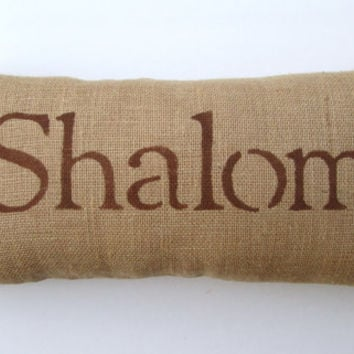 Hanukkah, Shalom, burlap pillow, peace, brown decorative pillow, home decor, peace pillow decor, gift under 40 by whimsysweetwhimsy