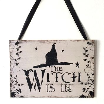 Halloween Party Decoration Supplies The Witch Is In Vintage Wooden Plaque Wall Sign Hanging Board Halloween Home Decorations
