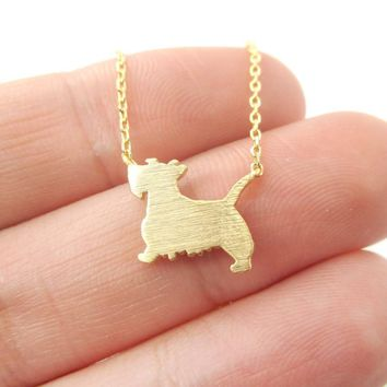 Westie Scottish Terrier Dog Shaped Silhouette Charm Necklace in Gold | DOTOLY