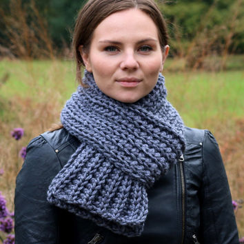 Hand Knit Chunky Long Scarf for Women or Men Gray