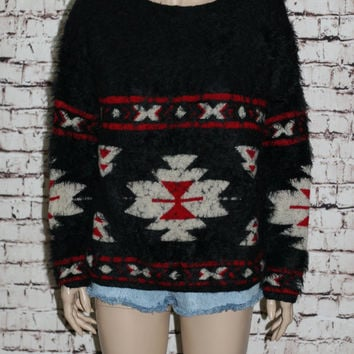90s Oversize SouthWest Sweater Jumper Red Black Fuzzy Soft Indian Western Hipster Grunge Boho Boxy Knit  XS S M  SW Shirt Wear 80s Beige