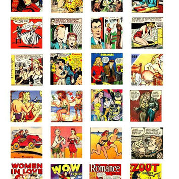 romance comics art collage sheet 1.5 inch squares clip art digital download graphics images craft printables
