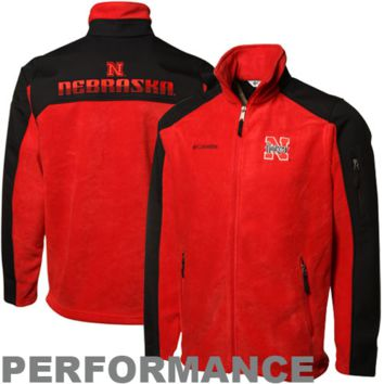 Columbia Nebraska Cornhuskers Scarlet-Black Zone Blitz Full Zip Performance Jacket