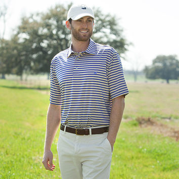 The Bermuda Performance Polo - Hamilton Stripe - Collegiate - LSU
