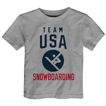 Licensed Sports Team USA Toddler 2018 Winter Olympics Snowboarding Team Sport Pictogram T-Shirt KO_20_2