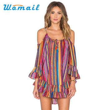 Brand new Women's Summer Rainbow Print Fringed Beach Dress Loose Chiffon Off Shoulder Mini Dress Gift 1pcs