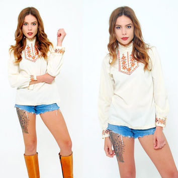 Vintage 70s EMBROIDERED Blouse Boho Top Cream RUFFLE Turtleneck Shirt Hippie Top