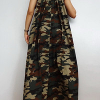 Women Maxi Spaghetti Long Dress ,Casual Gypsy Bohemian Dress ,Green CAMO Print In Cotton Blend (Dress*9A).
