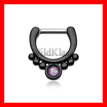 Purple Opal Black Septum Clicker Grandiose Septum Ring Cartilage Earrings Nipple Ring Circular Barbell Tragus Jewelry Helix Conch