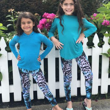 Turquoise Siberian Tiger Leggings for Kids