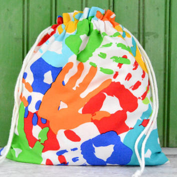 MEDIUM Reusable Drawstring Bag-for Toys, Gifts, Crafting or Storage in Primary Color Finger Paint Handprint Fabric