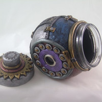 Industrial slanted jar polymer clay whimsical steampunk inspired cookie jar