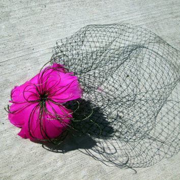 Vintage Inspired Pink Feather Flower with Birdcage Veil Blusher Fascinator - Bachelorette Veil - steampunk wedding - bridal - Magenta