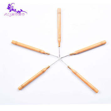 Indian Keration Loop Extension Crochet Knitting Hook Needles Styling Tools 1pcs Wood Hook Needles For Wig Making/Hair Extension