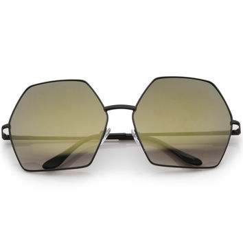 Women's Oversize Geometric Mirrored Lens Sunglasses A508
