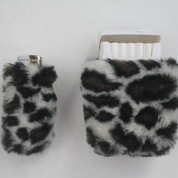 Leopard Print Cigarette Case for Women Bic Lighter Case for Cigarette Box Faux Fur Smoking Accessories Fur Case