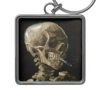 Skull with Burning Cigarette Vincent van Gogh Art Silver-Colored Square Keychain