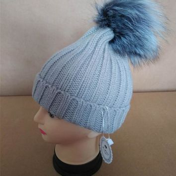 Children WinterMulti color  Raccoon Fox Fur Hat Girls Boys 100% Real Fur pompoms Ball Baby Beanies Cap Crochet Kids Knitted Hats
