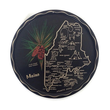Vintage Maine State Tray, Tin Serving Tray, Landmarks, State Flower, Black and Gold, Wall Decor, Round Tin Tray, Map