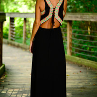 Laced Up Aztec Maxi, Black