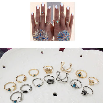 Designer Nice 1 Set Personality Leaf Knuckle Midi Mid Finger Tip Stacking Chain Rings = 5988127617