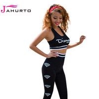 Jahurto Women Two Piece Set DIAMOND Printed Crop Tank Top Skinny Long Pants Sexy Gym Sport Fitness Jogging Women Outfit