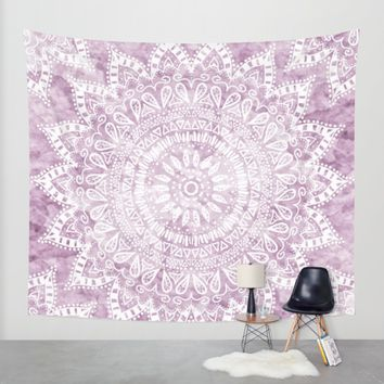 BOHEMIAN FLOWER MANDALA IN PINK Wall Tapestry by Nika | Society6