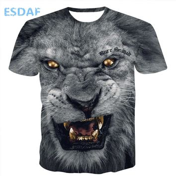 ESDAF African lion printing T-shirt Tee tops