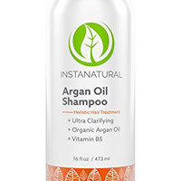InstaNatural Argan Oil Shampoo - With 100% Certified Organic Moroccan Argan Oil & Vitamin B5 - Best Holistic Treatment for Soft & Silky Hair - Deluxe Nourishment to Hydrate Dry Scalp - 16 OZ