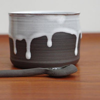 Pottery Salt Cellar And Spoon -Ceramic Salt Cellar-Can Also Be Used For Herbs