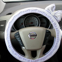 Lavender & Lace Steering Wheel Cover with Matching Bow