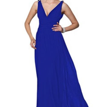 Royal Blue Plunge V Neck Low Cut Back Evening Dress