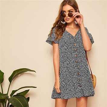 SHEIN Lady Boho Ruffle Hem Drop Waist Button Up Floral Dress Women Beach Casual V Neck Short Sleeve Loose Mini Dress