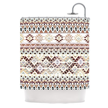 "Nika Martinez ""Tribal Native in Pastel Brown"" Brown Shower Curtain"