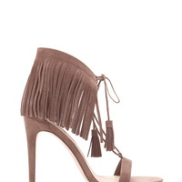Genuine Suede Fringed Sandals