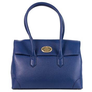 Roberto Cavalli Blue Grained Leather Double Compartment Shoulder Bag
