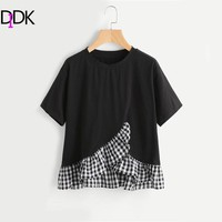 DIDK Black Gingham Frill Hem Overlap Top Summer Round Neck Short Sleeve Casual T-shirt Dirls Cute Ruffle Plaid T-shirt