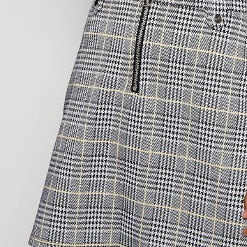 Milly O Ring Zip Woven Check Mini Skirt | Boohoo