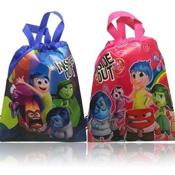 Lovely 4Pcs I nside Out Cartoon Drawstring Backpack Non-woven fabrics,Kids Party Gift,Shopping Bags,Children Favorite